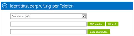 """Screenshot des Abschnitts """"Identitätsüberprüfung per Telefon"""" der Azure-Abonnementregistrierung, in dem Sie den Bestätigungscode angeben und auf """"Code überprüfen"""" klicken."""