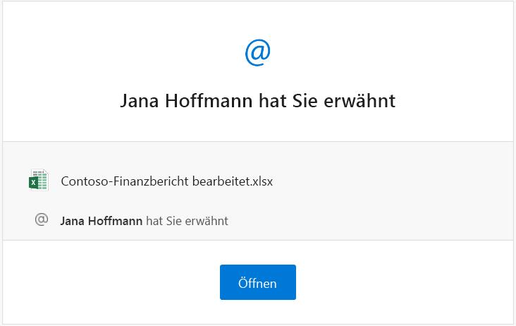 Screenshot einer E-Mail-Benachrichtigung zu einer Erwähnung von Excel