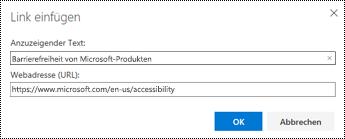 Dialogfeld ' Hyperlink ' in Outlook im Web.