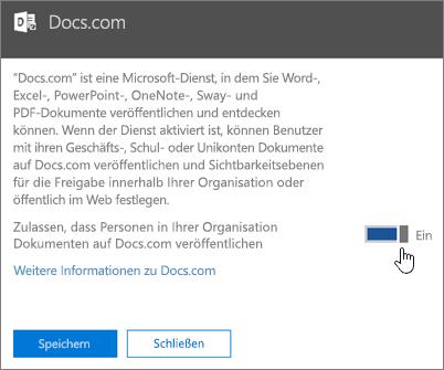 """Ziehen Sie den Schieberegler in die Position """"Ein"""", damit Personen aus Ihrer Organisation auf Docs.com veröffentlichen können."""