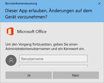 """Screenshot des Fensters """"Benutzerkontensteuerung"""""""