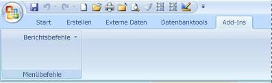 Registerkarte 'Add-Ins' mit einem benutzerdefinierten Menü