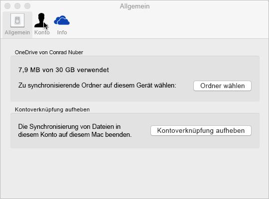 Synchronisieren der Ordnerauswahl in OneDrive für Mac