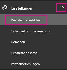 """Klicken Sie im linken Navigationsbereich auf """"Einstellungen"""" und dann auf """"Dienste und Add-Ins""""."""