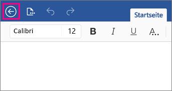 """Abbildung der Schaltfläche """"Zurück"""" in Word 2016 für iPad."""