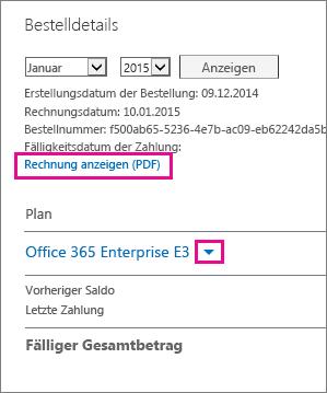 """Wählen Sie """"Rechnung anzeigen (PDF)"""" aus, um eine PDF-Datei Ihrer Rechnung herunterzuladen."""