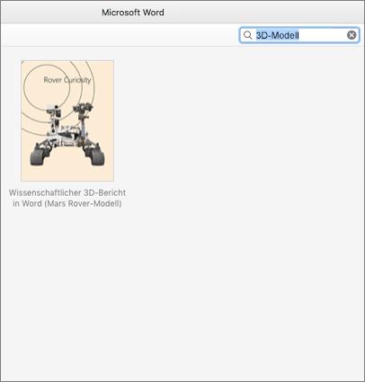 Suchen nach 3D-Modellvorlagen in Word für Mac
