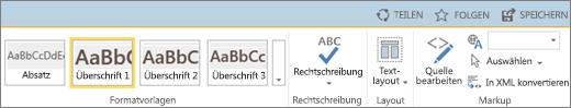 """Screenshot eines Teils des SharePoint Online-Menübands mit den Steuerelementen """"Teilen"""", """"Folgen"""" und """"Speichern""""."""