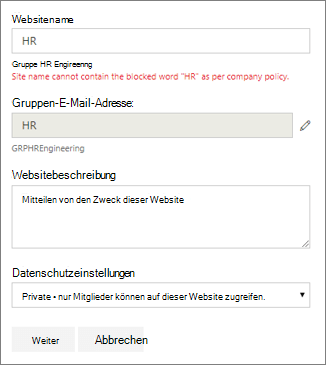 Screenshot: Gruppenbenennungsrichtlinie – Blockierter Name einer SharePoint-Website