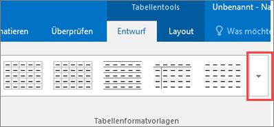 """Screenshot der ersten sechs Tabellenformatvorlagen und der Schaltfläche """"Weitere"""" zum Anzeigen aller Tabellenformatvorlagen"""