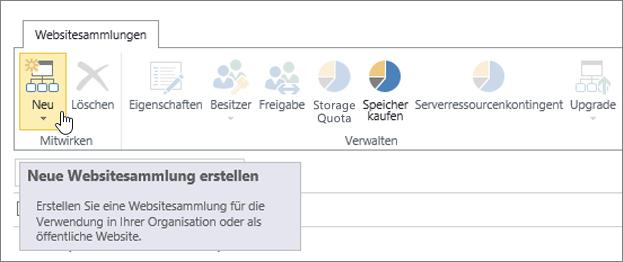 """Seite """"Websitesammlung"""" mit ausgewählter Option """"Neu"""""""