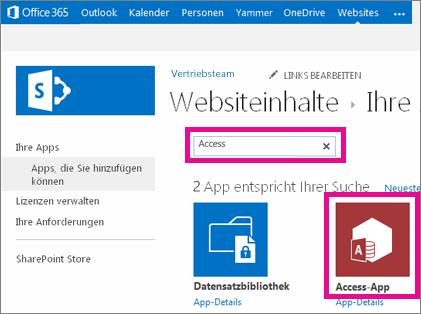 """Suchen nach einer Access-App auf der Seite """"App hinzufügen"""" in SharePoint"""