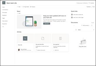 Abbildung einer einfachen Vorlage für eine Teamwebsite