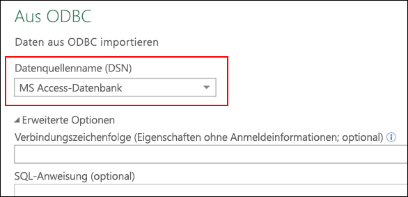 Power Query – ODBC-Connector: Unterstützung für das Auswählen von Benutzer/System-DSNs