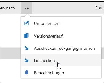 """Menü """"Dokument"""" mit hervorgehobener Option """"Einchecken"""""""