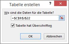 """Screenshot des Dialogfelds """"Tabelle erstellen"""" mit dem Zellbereichsbezug für die zu erstellende Tabelle"""