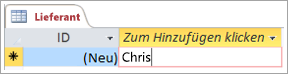 """Bildschirmausschnitt der ID in der Tabelle """"Lieferanten"""""""