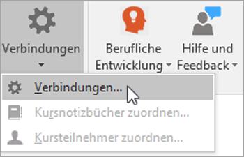 """Wählen Sie auf der Registerkarte """"Kursnotizbuch"""" die Option """"Verbindungen"""" aus."""