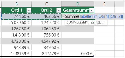Eingeben einer einzelnen Formel in eine Tabellenzelle, die zum Erstellen einer berechneten Spalte automatisch vervollständigt wird