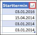 """""""Absteigend sortieren"""" wird auf der Schaltfläche """"Filter"""" mit einem nach unten weisenden Pfeil angezeigt."""