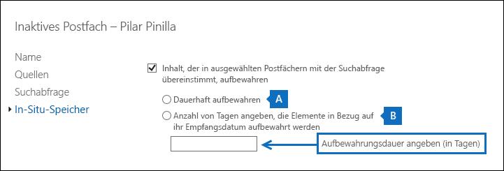 Screenshot: Ändern der Dauer für einen In-Situ-Haltebereich