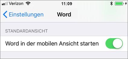 """Einstellung """"Word in mobiler Ansicht starten"""" ist ausgewählt."""