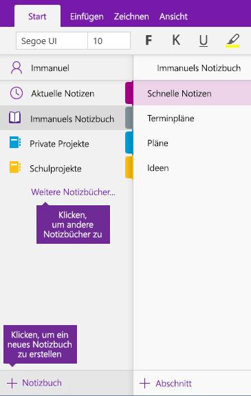Screenshot zum Erstellen eines neuen OneNote-Notizbuchs