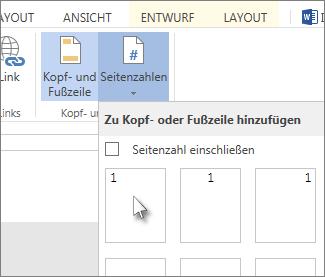 Abbildung der Benutzeroberfläche zum Einfügen von Seitenzahlen in einer Kopf- oder Fußzeile