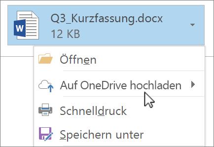 """Screenshot eines Outlook-Fensters """"Verfassen"""" mit einer angefügten Datei; Befehl """"Upload"""" ausgewählt"""