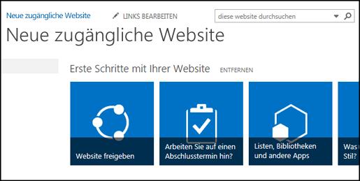 Screenshot einer neuen SharePoint-Website mit Kacheln zum Anpassen der Website