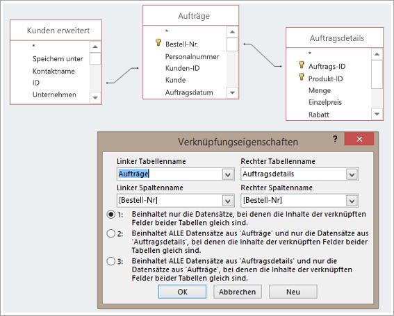 Screenshot der drei Tabellen und deren Verknüpfungseigenschaften