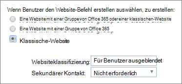 Website Klassifizierung Dropdownmenü
