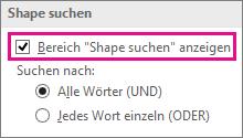 """Wählen Sie """"Bereich 'Shape suchen' anzeigen"""" aus, um die Suche im Fenster """"Shapes"""" anzuzeigen."""