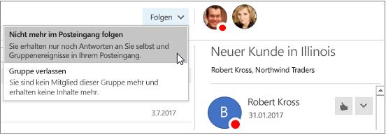 Schaltfläche zum Abonnieren im Gruppenkopf in Outlook2016