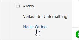 """Screenshot der Schaltfläche """"Neuer Ordner"""""""