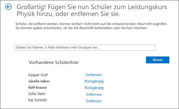 Screenshot zum Hinzufügen von Gruppen
