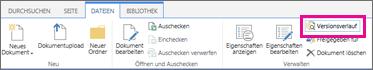 """Screenshot der Registerkarte """"Dateien"""" mit hervorgehobener Schaltfläche """"Versionsverlauf"""""""