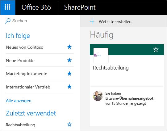 """Screenshot der SharePoint-Startseite, Modus """"Modern"""""""
