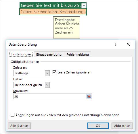 Beispiel für die Datenüberprüfung bei eingegrenzten Textlängen