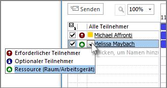 Auf das Symbol links neben dem Namen klicken und dann auf 'Ressource (Raum/Arbeitsgerät)'