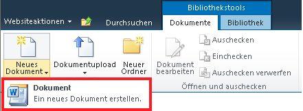 Hinzufügen eines neuen Dokuments zu einer Dokumentbibliothek
