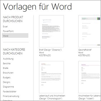 Word Online-Vorlagen