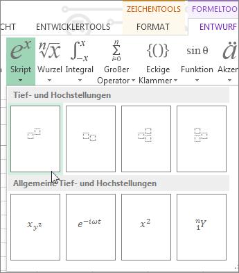 Schaltfläche 'Hochgestellt' in der Symbolleiste für Formeln