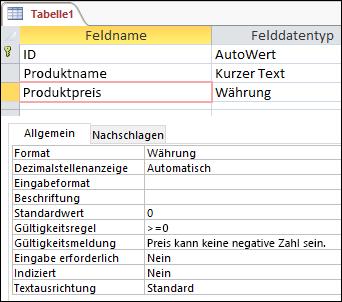 Im Access-Tabellen-Designer angezeigte Feld-Gültigkeitsprüfungsregel
