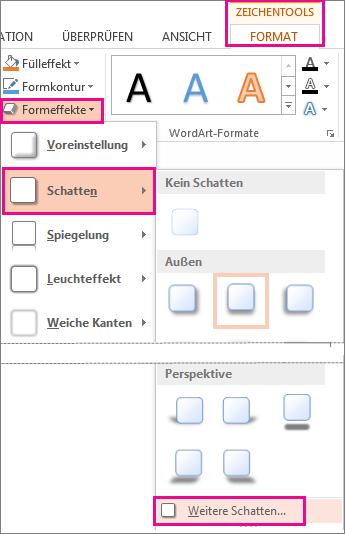 Schattenoptionen beim Zugriff von der Registerkarte 'Zeichentools > Format' > 'Formeffekte' > 'Schatten'