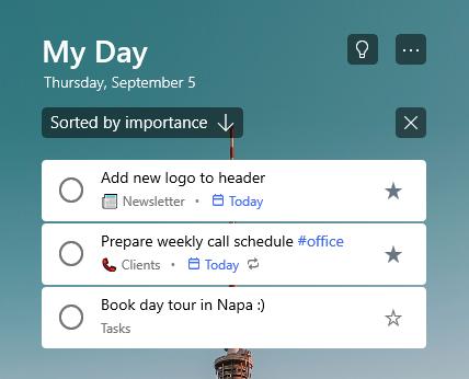 """Liste """"mein Tag"""" nach Wichtigkeit sortiert mit zwei markierten Aufgaben oben in der Liste"""