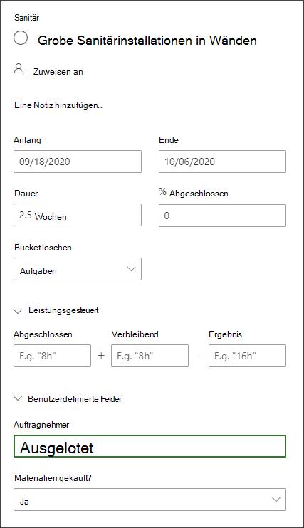 """Screenshot aus dem Detailbereich einer Aufgabe, die den Abschnitt """"benutzerdefinierte Felder"""" zeigt"""