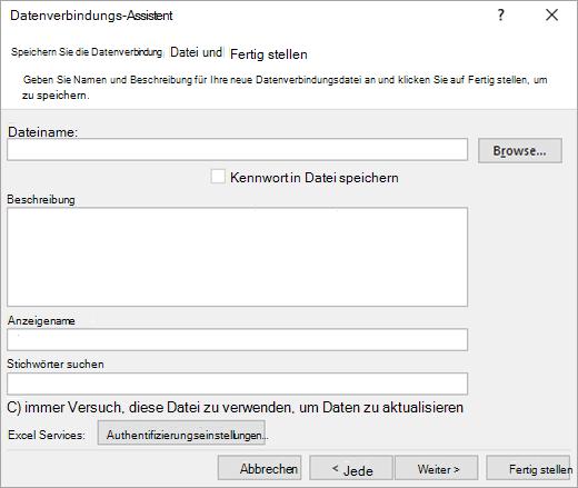 Daten Datenverbindungs-Assistenten Bildschirm 3