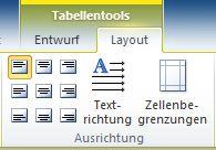 'Tabellentools' auf der Registerkarte 'Layout'