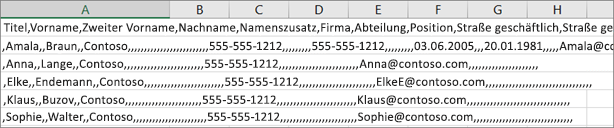 Ein Beispiel für eine im XLS-Format gespeicherte CSV-Datei.